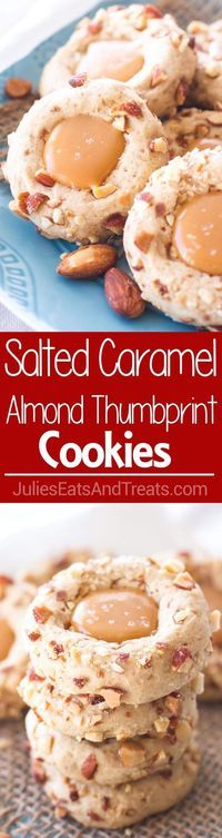 Salted Caramel Almond Thumbprint Cookies ~ Easy, Cookies Are Perfect for Any Holiday Party or Cookie Exchange! Slightly Nutty, Sweet and Incredibly Rich with Salted Caramel Filling! ~ http://www.julieseatsandtreats.com