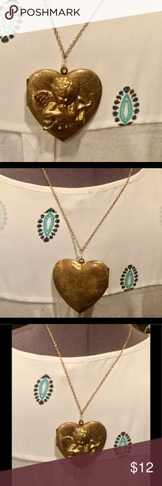 Antiqued gold angel heart locket necklace Gold heart locket Jewelry Necklaces