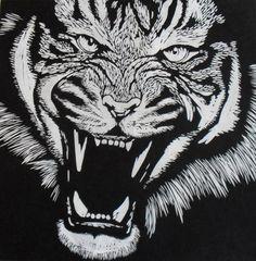 Tiger Linocut on Japanese Kozuke paper (44gsm white) by Rowanne Anderson http://www.rowanneanderson.com/ Tags: Linocut, Cut, Print, Linoleum, Lino, Carving, Block, Woodcut, Helen Elstone, Animals, Tiger, Teeth, Fur