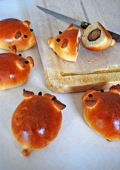 Sausage-Stuffed Piglet Buns - GirlVersusDough.com I bet bacon & cheese would be good, too!