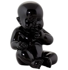 Kendall Biting Nails Seated Baby Statue Black in Painted Polyresin Kokoon Design, Nail Biting, Decoration Design, Candle Lanterns, Home Living, Black House, Home Deco, Home Furnishings, Home Accessories