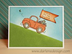 """Loads of Love (Stampin' Up) Great 3D """"friends for the road"""" flag on the card.  Pick-up truck with dogs"""