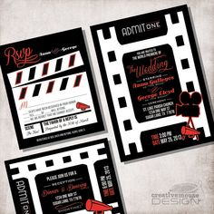 Wedding Invitation movie ticket / FILE ONLY by CreativeMouseDesign, $15.00