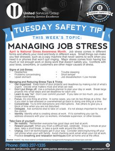 This week's Tuesday Safety Tip is about the Managing Job Stress. April is National Stress Awareness Month.  United Services is dedicated to making safety information available to our employees and customers to further emphasize our safety culture. The credit for this week's safety information was provided by the WebMD (www.webMD.com).  #safety #safetytips #osha #tuesdaysafetytip