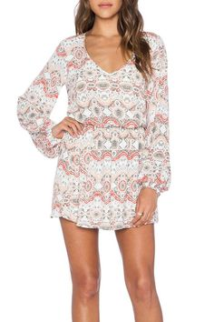 Feel boho-chic in this long sleeve printed mini dress! The elastic waist is so flattering, wear as a dress or pair it with leggings for a more casual look    Rainey Mini Dress by Show Me Your Mumu. Clothing - Dresses - Long Sleeve Clothing - Dresses - Mini Clothing - Dresses - Printed North Carolina