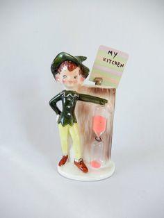 vintage pixie figurine elf figurine sand timer hour by brixiana