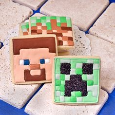 Take a break from diamond mining to decorate Minecraft cookies! Learn how to make Creeper, Steve, pig, and sheep cookies.