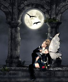 Fairy Pictures, Fantasy Pictures, Elves Fantasy, Fantasy Fairies, Dark Fairies, Moon Fairy, Gothic Fairy, Beautiful Fairies, Dark Fantasy Art