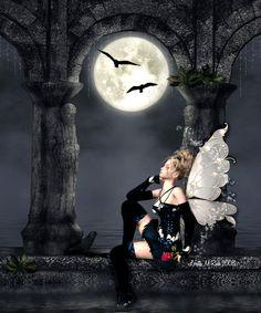 Fairy Pictures, Fantasy Pictures, Elves Fantasy, Fantasy Fairies, Dark Fairies, Moon Fairy, Gothic Fairy, Dark Fantasy Art, Fantasy Artwork