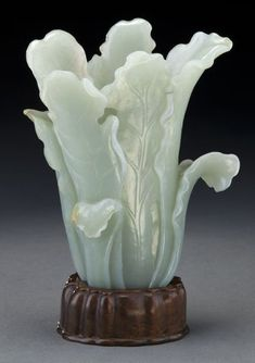 """Chinese Qing carved jade cabbage vase.  Jade: 6""""H x 5""""W, Circa - 19th C."""