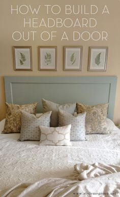 Style Me Green: DIY HEADBOARD. Could also make this out of a piece of wood and three 2x4 and then paint it.