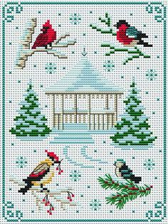 Four birds cross stitch Xmas Cross Stitch, Just Cross Stitch, Cross Stitch Animals, Cross Stitch Charts, Cross Stitch Designs, Cross Stitching, Cross Stitch Embroidery, Cross Stitch Patterns, Cross Stitch Pictures