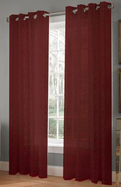 The Royale lace curtain is an elegant scrolling floral pattern on a lace motif fabric. Offers light-filtering privacy with a classic beauty of Jacquard knitted lace. Home Curtains, Grommet Curtains, Curtain Fabric, Panel Curtains, Burgundy Curtains, Burgundy Paint, Curtain Styles, Tuscan House, Classic Beauty