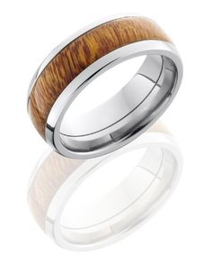 Titanium, Polished Titanium Osage Orange Hardwood Inlay Wedding Band, so cool!