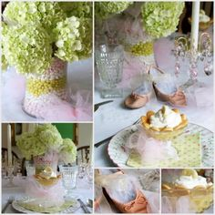 Hydrangea Centerpiece: I love this table set up!!! Great idea for a baby shower, or little girls birthday, even bridal shower!