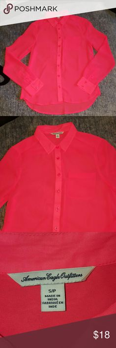 NWOT! Pink Sheer Button Down Blouse PERFECT CONDITION - Only worn and washed once. American Eagle Pink button down long sleeve top - Size Small. No trades. American Eagle Outfitters Tops Blouses