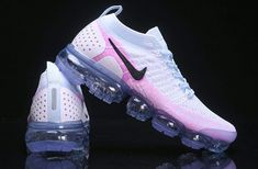 Newest Nike Air VaporMax Flyknit 2 White Hydrogen Blue Pink 942843 102 Sneakers Women's Running Shoes Nike Air Max, New Nike Air, Sneakers Mode, Sneakers Fashion, Shoes Sneakers, Platform Sneakers, Women's Shoes, Running Shoes For Men, Running Women