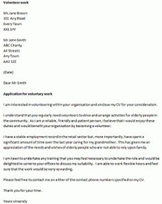 volunteer work cover letters