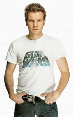 EWAN McGREGOR (Esquire June 2005) sporting a classic Star Wars T-shirt and an awesome Han Solo blaster belt buckle.