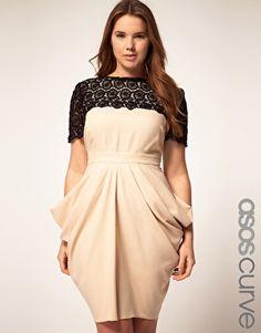 ASOS CURVE Exclusive Drape Dress With Flower Crochet Trim