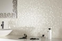 Love these sparkly (Glass? Mother of Pearl?) Tiles for kitchen or bathroom backsplash