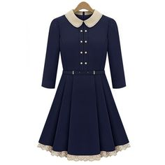 Doll Collar England Style double-breasted Navy Blue Dress also in beige