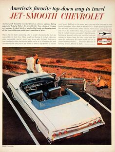 This is an original 1962 color print ad for the Chevrolet Impala Convertible from the Chevrolet Division of General Motors. CONDITION This year old Item is rated Very Fine +++. Light aging in marg Chevy Classic, Classic Chevy Trucks, Best Classic Cars, Classic Auto, Chevrolet Impala, Impala Car, Chevrolet Caprice, General Motors, Vintage Advertisements