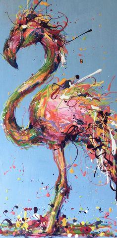 """Fancy Flamingo"", Mixed Media Drip Art"