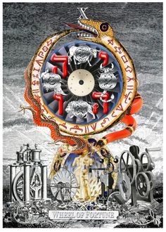Wheel of Fortune - a richly illuminated book of tarot card of collages by Arthur Taussig.