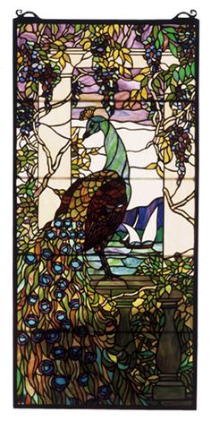Meyda Tiffany Wisteria Tiffany Peacock Stained Glass Window & Reviews | Wayfair