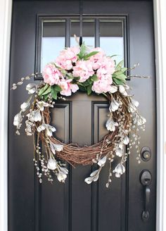 Gorgeous Spring Wreath Decor Idea For Your House 12 Spring Door Wreaths, Easter Wreaths, Summer Wreath, Christmas Wreaths, Prim Christmas, Front Door Decor, Wreaths For Front Door, Front Doors, Diy Wreath