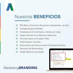 Marketing Branding permite que nuevos clientes conozcan su empresa cuando buscan en Google. Servicios de Google Adwords para figurar en los primeros resultados de la búsqueda en Google. #GoogleAdWords #AdWords #click #partner #googlepartner #marketingbranding #marketing #publicidad #remarketing #servicios #E-Commerce #ventas #ventasenlinea