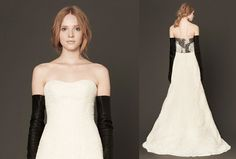 A sweet strapless gown surprises us with black and ivory lace detail in the back.