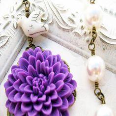 Purple Flower Necklace Bridesmaid Necklace by PrairieBlossoms, $29.00