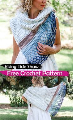 Rising Tide Shawl Free Crochet Pattern #crochet #crafts #fashion #style #ideas #homemade #handmade #project #design #shawl