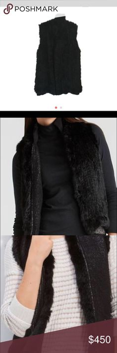 Theory fur vest Hamina fur lined reversible vest.  one side is 100% black rabbit fur from France.  other is cashmere blend boucle yarn fabric : 73% wool, 19% cashmere, 8% polyamide  high collar Theory Jackets & Coats Vests