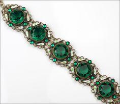 Antique ART Nouveau Czech Emerald Green Faceted Glass Stone Bracelet Enamel 20'S | eBay