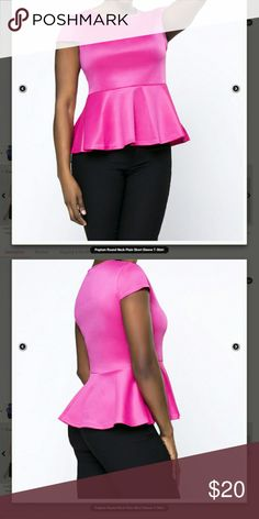 Hot Pink Peplum blouse from FashionMia Brand new/ Never worn FashionMia Tops Blouses