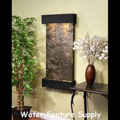 Adagio Fountains Whispering Creek Natural Stone/Metal Wall Fountain with Light Stone: Green Slate, Finish: Silver Metallic Indoor Wall Fountains, Indoor Fountain, Water Fountains, Indoor Water Features, Tabletop Fountain, Copper Frame, Water Walls, Massage Room, Outdoor Walls