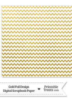 Gold Foil Chevron Digital Scrapbook Paper from PrintableTreats.com