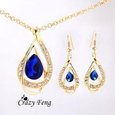 Free shipping Women's 18k Yellow Gold Plated Ruby/White/Blue Sapphire Austrian Crystal Chain Necklace + Earrings Jewelry Sets - cubic zirconia jewelry