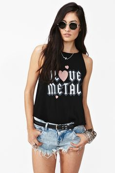 I Love Metal Tank.     i love this girl's whole look. especially her hair.