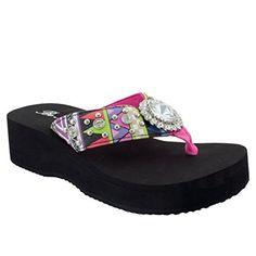 735ef765d05a37 Women Rhinestone Studded Concho Strap Thong Flip Flop Platform Sandals  Round Hot PinkHot Pink 09 US