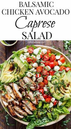 Chicken Avocado Caprese Salad is a quick and easy meal . - Balsamic Chicken Avocado Caprese Salad is a quick and easy meal in a salad! Frying … – healthy -Balsamic Chicken Avocado Caprese Salad is a quick and easy meal . Best Salad Recipes, Chicken Salad Recipes, Healthy Dinner Recipes, Cooking Recipes, Salad Chicken, Caprese Chicken, Dinner Salad Recipes, Meal Salads, Chicken Eating