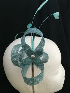 Teal, blue, green Sinamay fascinator with diamanté and coq feathers - Welsh hats by Sian 2016