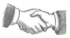 Antique Images: Free Images of Hands: Black and White Handshake Illustrations