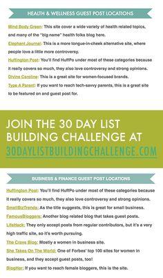 Top guest post locations for guest blogging, free at: http://30daylistbuildingchallenge.com