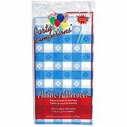 "Blue & White Gingham Rectangular Plastic Tablecloth 54"" x 108"""