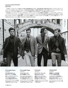 Danny Beauchamp, Jacey Elthalion, Oliver Cheshire & Max Tree are Sartorial Gents for Japanese GQ