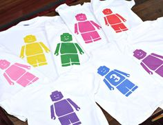 This would be fun for all the kids to have the same shirt!! And it isn't a bad price!! set of 9 LEGO Party favor birthday shirts by myemmybaby on Etsy, $135.00